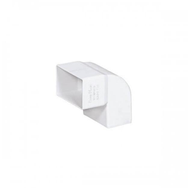 Λευκή Πλαστική Γωνία Κάθετη 90˚Υδροροής 6Χ10, FASOPLAST