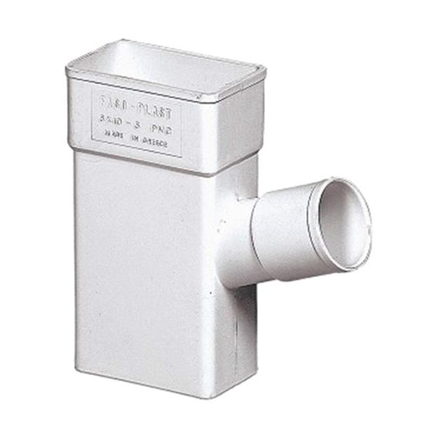 Λευκό  Πλαστικό Hμιτάφ Πλάγιο Υδροροής 6x10 x Φ50 , FASOPLAST