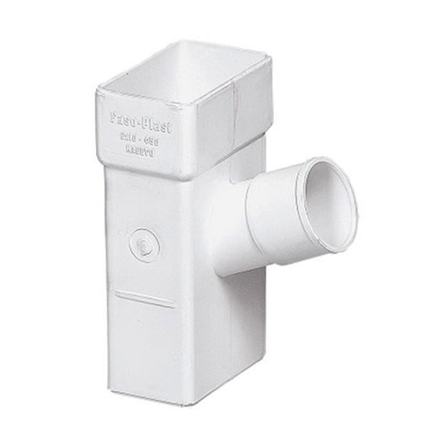Λευκό Πλαστικό Hμιτάφ Κάθετο Υδροροής 6x10 x Φ50 , FASOPLAST