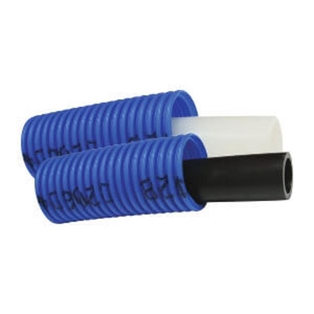 Σωλήνας Palatherm - Pex/Flex Φ18×2,5 Δικτυωμένου Πολυαιθυλενίου 50m Επενδεδυμένος με Σπιράλ Προστασίας Φ28 (Μπλε)