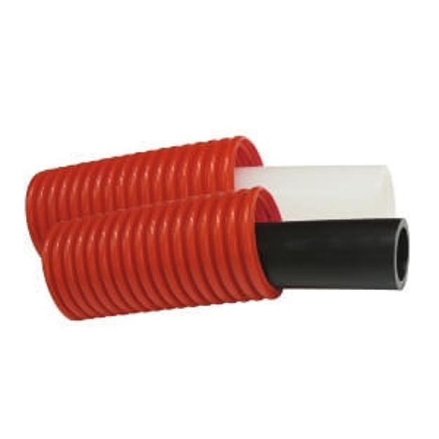 Σωλήνας Palatherm - Pex/Flex Φ18×2,5 Δικτυωμένου Πολυαιθυλενίου 50m Επενδεδυμένος με Σπιράλ Προστασίας Φ28 (Κόκκινο)