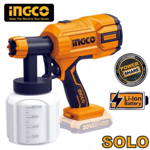 Πιστόλι Βαφής Με Μπαταρία Λιθίου 20volt Ingco Solo CSGLI2001