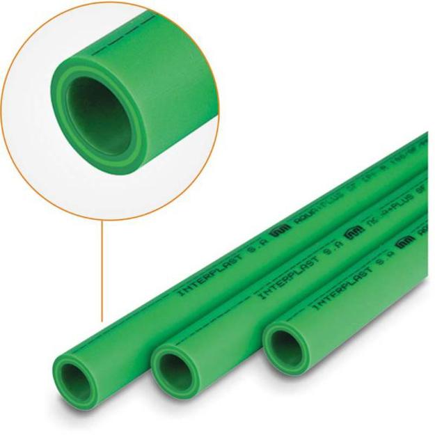 Πράσινη Σωλήνα PPR Φ40 x 5,5 με Υαλόνημα INTERPLAST